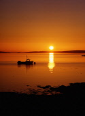 St Marys Bay HOLM ORKNEY Sunset over Scapa Flow fishing creel boat  Picture Credit: Doug Houghton / Scottish Viewpoint Tel: +44 (0) 131 622 7174   Fax: +44 (0) 131 622 7175 E-Mail : info@scottishviewp... Public fishing,boat,sunset,orange,dusk,sundown,sea,sun,scotland,scottish,flotta,anchor,anchored,moored,reflection,black,peaceful,quiet,still,clear,peace,tranquil,serene,unspoilt,serenity,fishingboat,fisherma