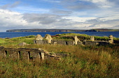 The remains of workers cottages at the old flagstone quarry of Castlehill on Dunnet Bay near Thurso, with Dunnet Head peninsula across the bay, Highlands of Scotland.  Picture Credit: Ross Graham / Sc... Public sunny,ruin,ruins,heritage,coastal,coast,caithness