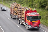 Traffic on the A75 wood timber lorry on Dumfries by-pass, Dumfries and Galloway. Picture Credit: Allan Devlin / Scottish Viewpoint Tel: +44 (0) 131 622 7174   Fax: +44 (0) 131 622 7175 E-Mail : info@s... Public road,a75,traffic,uk,dumfries,and,galloway,scotland,wood,timber,articulated,lorry,by-pass,by,pass,transport,logging