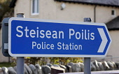 Gaelic language road sign Steisean Poilis outside a police station on the Isle of Lewis in the Outer Hebrides. PIC: ALLAN MILLIGAN/SCOTTISH VIEWPOINT Tel: +44 (0) 131 622 7174  Fax: +44 (0) 131 622 71... Public signage,tradition,western isles,island