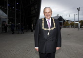Bob Winter, the Provost of Glasgow pictured at the Clyde Auditorium / Armadillo, Glasgow, Scotland. Picture Credit:  Iain McLean / Scottish Viewpoint Tel: +44 (0) 131 622 7174   Fax: +44 (0) 131 622 7... Public, NMR 2010,summer,council,chain,smile