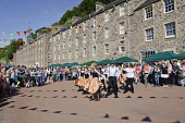 The New Lanark Victorian Fair held annually in September at New Lanark World Heritage site, South Lanarkshire.   Picture Credit: Andrew Wilson / Scottish Viewpoint?Tel: +44 (0) 131 622 7174  ?Fax: +44... Public, NMR world,heritage,victorian,entertainment,dancer,accordian,band,dancing,outdoors,fair,fayre,pipes,piper,bagpipes,history,historical,summer,sunny,event