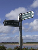 Sign for the John Muir Way, East Lothian Picture Credit: Scott Whitelaw / Scottish Viewpoint Tel: +44 (0) 131 622 7174   Fax: +44 (0) 131 622 7175 E-Mail : info@scottishviewpoint.com Web: www.scottish... Public summer,park,country,walk,sign post,post,coastal,path