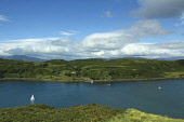 Kerrera and the Sound of Kerrera from above Gallanach near Oban, Argyll.  Picture Credit: Keith Fergus / Scottish Viewpoint?Tel: +44 (0) 131 622 7174  ?Fax: +44 (0) 131 622 7175?E-Mail : info@scottish... Public Sound of Kerrera,Kerrera,Coast,Coastline,Oban,Island,Sea,Water,Seafood,Yachts,Boats,Mooring,Viewpoint,Scotland,Tourism,sunny,summer,sailing