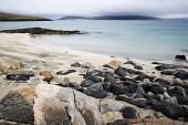 The turquoise water lapping gently onto the beach at Scarasta, Harris, Outer Hebrides.  Picture Credit: Richard Burdon / Scottish Viewpoint Tel: +44 (0) 131 622 7174   Fax: +44 (0) 131 622 7175 E-Mail... Public Scotland,Scottish,deserted,landscape,coastal,undiscovered,beach,sand,rocks,holiday,tranquil,dunes,south,Harris,Sheilebost,Losgaintir,seilebost,traigh,western isles
