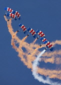A parachute display team at Leuchars Airshow, Fife. Picture Credit : Andy Bennetts / Scottish Viewpoint  Tel: +44 (0) 131 622 7174  Fax: +44 (0) 131 622 7175  E-Mail : info@scottishviewpoint.com  This... Public Conformity,Order,Teamwork,Co-operation,Agreement,Transportation,Aircraft,Horizontal,Outdoors,Europe,UK,Scotland,Formation Flying,Blue,Day,Military,RAF,Leuchars,Vapour Trail,Red Arrows,Military Aeropla