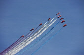 The Red Arrows at Leuchars Airshow, Fife. Picture Credit : Andy Bennetts / Scottish Viewpoint  Tel: +44 (0) 131 622 7174  Fax: +44 (0) 131 622 7175  E-Mail : info@scottishviewpoint.com  This photograp... Public Conformity,Order,Teamwork,Co-operation,Agreement,Transportation,Aircraft,Horizontal,Outdoors,Europe,UK,Scotland,Formation Flying,Blue,Day,Military,RAF,Leuchars,Vapour Trail,Red Arrows,Military Aeropla