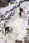 Ice Climbing on the Grey Mare's Tail, Dumfries & Galloway. Picture Credit: Jason Baxter  / Scottish Viewpoint  Tel: +44 (0) 131 622 7174  Fax: +44 (0) 131 622 7175  E-Mail : info@scottishviewpoint.com... Public, NMR frozen,waterfall,ice,climb,climbing,sport,adventure,dangerous,danger,extreme,winter,snow,activity