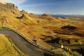 The Quiraing on the Trotternish peninsula, Isle of Skye, Inner Hebrides. Picture Credit: Ross Graham  / Scottish Viewpoint  Tel: +44 (0) 131 622 7174  Fax: +44 (0) 131 622 7175  E-Mail : info@scottish... Public mountain,cliffs,precipice,erosion,mountains,island,highland,highlands,coast,water,sunny,winter,single track,road