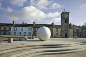 Creetown, carved granite ball and Main Street, Dumfries and Galloway. Picture Credit: Allan Wright / Scottish Viewpoint Tel: +44 (0) 131 622 7174   Fax: +44 (0) 131 622 7175 E-Mail : info@scottishview... Public ball,blue sky,bright,clock,clocktower,clouds,Creetown,dry,dumfries and galloway,Galloway,granite,houses,main Street,road,scotland,scottish,south west scotland,steps,street,sunny,village,white clouds,w