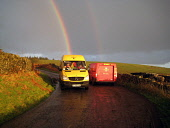 DHL and Post Office van meet on country road with rainbow, Dumfries and Galloway. Picture Credit: Allan Wright / Scottish Viewpoint Tel: +44 (0) 131 622 7174   Fax: +44 (0) 131 622 7175 E-Mail : info@... Public agricultural,atmospheric,autumnal,blessed by nature,clash of titans,colour,colourful,commercial,countryside,couriers,crisp,dark sky,delivery,dhl takes the lead,dramatic,Dumfries & Galloway,dumfries an