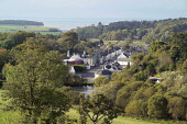 Gatehouse of Fleet looking to Fleet Bay, Dumfries and Galloway. Picture Credit: Allan Wright / Scottish Viewpoint Tel: +44 (0) 131 622 7174   Fax: +44 (0) 131 622 7175 E-Mail : info@scottishviewpoint.... Public blue sky,cardoness,cars,castle,church,clear,clock,clocktower,clouds,coast,countryside,crisp,dark sky,dry,Dumfries & Galloway,estuary,farm animals,field,flagpoles,Fleet Bay,forest,freezing,fresh,frosty