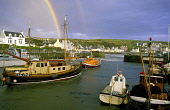 Portpatrick stormbound with rainbow and lifeboat, Rhinns of Galloway, Dumfries and Galloway. Picture Credit: Allan Wright / Scottish Viewpoint Tel: +44 (0) 131 622 7174   Fax: +44 (0) 131 622 7175 E-M... Public boat,buoys,cars,cattle,clouds,coast,cottages,cows,dark sky,Dumfries & Galloway,field,fishing,fishing boats,fishing industry,Galloway,grass,grey,grey sky,harbour,hills,houses,lifeboat,moorings,overcast