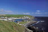 Portpatrick viewed from coastal path, Rhinns of Galloway, Dumfries and Galloway. Picture Credit: Allan Wright / Scottish Viewpoint Tel: +44 (0) 131 622 7174   Fax: +44 (0) 131 622 7175 E-Mail : info@s... Public agricultural,bay,blue,blue sky,boat,bright,cliffs,clouds,coast,coastal path,cottages,dry,Dumfries & Galloway,dyke,farm animals,farming,field,fishing,fishing boats,fishing industry,Galloway,grass,harbo
