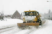 A snow plough during adverse weather conditions, Muirhead, North Lanarkshire. Picture Credit: Garry McHarg / Scottish Viewpoint Tel: +44 (0) 131 622 7174   Fax: +44 (0) 131 622 7175 E-Mail : info@scot... Public winter,cold,freezing,transport,snowing,people,car,lorry