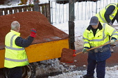 Council workmen clear and grit the pavements during adverse weather conditions, Crowwood, North Lanarkshire. Picture Credit: Garry McHarg / Scottish Viewpoint Tel: +44 (0) 131 622 7174   Fax: +44 (0)... Public winter,cold,shovel,shovelling,snow