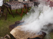 Arbroath Smokies Cooking at the Scottish Garden Show, Ingliston, Edinburgh Picture Credit: Ian Paterson / Scottish Viewpoint Tel: +44 (0) 131 622 7174   Fax: +44 (0) 131 622 7175 E-Mail : info@scottis... Public Arbroath,Highland,Old,Royal,Scotland,Scottish,Show,Whisky,barrel,coast,cook,cooking,delicacy,east,fish,fishes,food,haddock,half,hessian,historical,horizontal,landscape,manner,method,sack,sacks,seafood