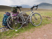 Bicycle and camping equipment on the track to Ben Alder, Highland. Picture Credit: Ian Paterson / Scottish Viewpoint Tel: +44 (0) 131 622 7174   Fax: +44 (0) 131 622 7175 E-Mail : info@scottishviewpoi... Public Munro,Munros,Scotland,backpack,bike,camping,cycling,estate,highlands,hills,holiday,isolated,landscape,mountains,outdoors,remote,tent,wilderness,wild