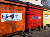 Council Recycling Bins in the Village of Ceres, Fife Picture Credit: Ian Paterson / Scottish Viewpoint Tel: +44 (0) 131 622 7174   Fax: +44 (0) 131 622 7175 E-Mail : info@scottishviewpoint.com This ph... Public Ceres,Fife,UK,bin,bins,bottle,bottles,bright,brightly,colored,colorful,coloured,colourful,council,deposit,depot,environmental,environmentally,friendly,orange,recycle,recycling,red,refuse,trash,yellow