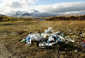 Piles of litter (inc lager cans, camping equipment and plastic bags) on Rannoch Moor, with a view to the Black Mount, behind, Highland. Picture Credit: Garry McHarg / Scottish Viewpoint Tel: +44 (0) 1... Public beauty,black,blackmount,broody,discarded,glen coe,highlands,landscape,mountain,mountains,rubbish,scenic,scotland,winter,sunny,dump,dumped,dumping