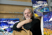 Scottish artist John Lowrie Morrison, also known as Jolomo in his studio in Tayvallich, Argyll, on the west coast of Scotland Pic: Gary Doak / Scottish Viewpoint  Tel: +44 (0) 131 622 7174  Fax: +44 (... Public, NMR landscape,colour,art,painting,paintings,oil paint,blue