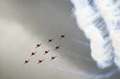 red arrows display team,raf leuchars airshow, fife, sep 2010 Picture Credit: Mark Hicken / Scottish Viewpoint Tel: +44 (0) 131 622 7174   Fax: +44 (0) 131 622 7175 E-Mail : info@scottishviewpoint.com... Public red arrows,display,team,airshow,aircraft,royal air force,raf,smoke,exciting,daring,spectacular,speed,colourful,BAE hawk T1,aerobatic,aeroplane,leuchars,scotland,september 2010