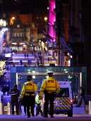 Police presence on Buchanan Street at night, in the city centre of Glasgow. Picture Credit: Garry McHarg / Scottish Viewpoint Tel: +44 (0) 131 622 7174   Fax: +44 (0) 131 622 7175 E-Mail : info@scotti... Public, NMR beat,bobby,patrol,atmospheric,force,service,services,public