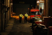 Police presence on Renfrew Lane at night, in the city centre of Glasgow. Picture Credit: Garry McHarg / Scottish Viewpoint Tel: +44 (0) 131 622 7174   Fax: +44 (0) 131 622 7175 E-Mail : info@scottishv... Public, NMR beat,bobby,patrol,atmospheric,force,service,services,public
