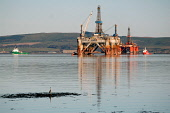 Oil rigs undergoing maintenance in the Cromarty Firth, Easter Ross, while a heron looks on, Highland. Picture Credit : Ross Graham / Scottish Viewpoint  Tel: +44 (0) 131 622 7174  Fax: +44 (0) 131 622... Public petrochemical,technology,engineering,boats,bird,waterfowl,sunny,highlands