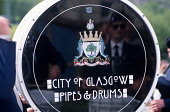 The City of Glasgow Pipes and Drums pipeband at a Highland Games. Picture Credit : Jason Baxter / Scottish Viewpoint  Tel: +44 (0) 131 622 7174  Fax: +44 (0) 131 622 7175  E-Mail : info@scottishviewpo... Public band,play,music,drum,cultural,event,tourism,tradition,traditional