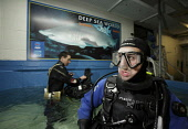 Divers kit-up before entering the aquarium at Deep Sea World to dive with the Sand tiger sharks, North Queensferry, Fife, Scotland. Picture Credit : Gary Doak / Scottish Viewpoint  Tel: +44 (0) 131 62... Public aquarium,attraction,visitor,swimming