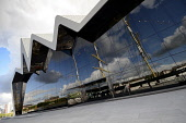 The Riverside Museum - Scotland's Museum of Transport and Travel on the River Clyde, west of the city centre of Glasgow. Picture Credit: Chris Robson / Scottish Viewpoint Tel: +44 (0) 131 622 7174   F... Public 2011,sunny,summer,visitor,attraction,building,architecture,destination,modern,zaha hadid,architect,industrial,heritage