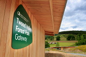 The Glentress Peel facility - gateway to the Tweed Valley Forest Park near Peebles catering for 300,000 visitors a year and includes a cafe, bike shop, bike hire, changing rooms, showers and toilets,... Public 2011,tourism,activity,modern,cycling,sunny,summer,pods,accommodation