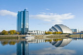Crown Plaza Hotel and SECC Armadillo on the River Clyde, west of the city centre of Glasgow. Picture Credit: D G  Farquhar / Scottish Viewpoint Tel: +44 (0) 131 622 7174   Fax: +44 (0) 131 622 7175 E-... Public autumn,sunny,water,Scotland,Tourism,Attraction,reflection,calm,accommodation,exhibition,centre,conference,building,architecture