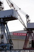 The BAE Systems shipyard on the River Clyde, west of the city centre of Glasgow. Picture Credit : Iain McLean / Scottish Viewpoint Tel: +44 (0) 131 622 7174   Fax: +44 (0) 131 622 7175 E-Mail : info@s... Public 2011,summer,building,industry,engineering engineers,crane,cranes