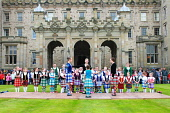 Highland Dancers performing in front of Floors Castle on Massed Pipe Band Day, Kelso, Scottish Borders. Picture Credit : Jason Baxter / Scottish Viewpoint Tel: +44 (0) 131 622 7174   Fax: +44 (0) 131... Public summer,bands,event,dancing,perform,performance,girls,kilts,colourful,colour,culture,tradition,traditional,cultural,roxburghe,estate,annual