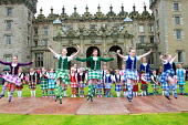 Highland Dancers performing in front of Floors Castle on Massed Pipe Band Day, Kelso, Scottish Borders.Picture Credit : Jason Baxter / Scottish ViewpointTel: +44 (0) 131 622 7174  Fax: +44 (0) 131 622... Public summer,bands,event,dancing,perform,performance,girls,kilts,colourful,colour,culture,tradition,traditional,cultural,roxburghe,estate,annual
