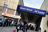 Queen Street Station and Buchanan Street Underground Station in Glasgow city centre. Picture Credit : Chris Robson / Scottish Viewpoint Tel: +44 (0) 131 622 7174   E-Mail : info@scottishviewpoint.com... Public 2011,summer,sunny,sign,signage,transport,scotrail,rail,railway,gaelic,people,passengers,travellers,spt,subway