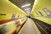 West Street Subway Station, Glasgow. Picture Credit : Chris Robson / Scottish Viewpoint Tel: +44 (0) 131 622 7174   E-Mail : info@scottishviewpoint.com This photograph cannot be used without prior per... Public 2011,interior,transport,underground,spt,platform,train,blur,blurry