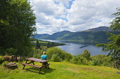 Looking down Loch Ness from Foyers, Highland Region. Picture Credit : D Barnes / Scottish Viewpoint Tel: +44 (0) 131 622 7174   E-Mail : info@scottishviewpoint.com This photograph cannot be used witho... Public 2011,summer,sunny,hillside,hills,trees,forestry,water,picnic,table