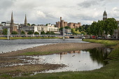 The River Ness, Inverness, with a view to the castle beyond, Highland. Picture Credit : Ross Graham / Scottish Viewpoint Tel: +44 (0) 131 622 7174   E-Mail : info@scottishviewpoint.com This photograph... Public 2011,summer,water,building,architecture,suspension,bridge,foot,footbridge