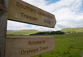 Signpost for Southern Upland Way long distance walk and Dryhope Tower at St Marys Loch in the Scottish Borders. Picture Credit : Derek Mitchell / Scottish Viewpoint Tel: +44 (0) 131 622 7174   E-Mail... Public 2011,summer,Yarrow,Valley,countryside,footpath,hills,ramblers,rambling,right,way,stile,traquair