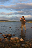 Fly fishing for trout on Harray Loch, Mainland, Orkney.Picture Credit : Mark Ferguson / Scottish ViewpointTel: +44 (0) 131 622 7174  E-Mail : info@scottishviewpoint.comThis photograph cannot be used w... Public summer,sunny,Isles,Game,Pursuit,Activity,Fisherman,Leisure,angler,island,islands