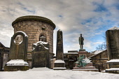 The monument to the American President Abraham Lincoln erected in 1893 at Old Calton Cemetery in Edinburgh. Picture Credit : Simon Williams / Scottish Viewpoint   Tel: +44 (0) 131 622 7174  E-Mail : i... Public 2010,winter,snow,atmospheric,HDR,burial,ground,commemorate,commemorating,commemoration,grave,graves,graveyard,heritage,mausoleum,memorial,memorials