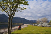 Caravans at Onich on the banks of Loch Linnhe, with a view beyond to Ardgour, Highlands of Scotland. Picture Credit : Dennis Barnes / Scottish Viewpoint   Tel: +44 (0) 131 622 7174  E-Mail : info@scot... Public 2012,spring,sunny,caravan,motorhome,caravanette,rv,accommodation,peaceful,escape,travel,tourist,tourism,holiday,vacation