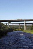 The A9 road bridge and the rail bridge at Tomatin over the River Findhorn, Highlands of Scotland. Picture Credit : Iain McLean / Scottish Viewpoint   Tel: +44 (0) 131 622 7174  E-Mail : info@scottishv... Public 2012,summer,sunny,rail,road,transport,structure,engineering,highland,bridges,lorry