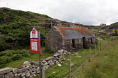 A ruined croft for sale near Ullapool, Highlands of Scotland. Picture Credit : Iain McLean / Scottish Viewpoint   Tel: +44 (0) 131 622 7174  E-Mail : info@scottishviewpoint.com  This photograph cannot... Public 2012,summer,highland,ruins,sign,signage,development,opportunity