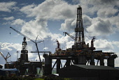 Oil rigs at the fabrication yard at Invergordon on the Cromarty Firth, Highlands of Scotland. Picture Credit : Andrew Wilson / Scottish Viewpoint   Tel: +44 (0) 131 622 7174  E-Mail : info@scottishvie... Public 2012,spring,production,energy,fuel,drill,drilling,north,sea,industry,industrial,platform,petro,chemical,petrochemical,highland