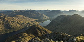 Sunrise over Loch Shiel and Glenfinnan from Sgurr Ghiubhsachain, with the Knoydart hills in the distance, Highlands of Scotland. Picture Credit : Alan Gordon / Scottish Viewpoint   Tel: +44 (0) 131 62... Public 2007,spring,sunny,hill,hills,walking,hillwalking,mountain,mountains,munro,munros,atmospheric,water,panoramic