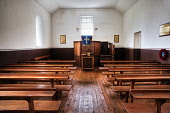 Inside the restored church at Village Bay, Hirta, the main island of the St. Kilda archipelago, Outer Hebrides. Picture Credit : Richard Burdon / Scottish Viewpoint   Tel: +44 (0) 131 622 7174  E-Mail... Public 2010,interior,remote,national,trust,nts,western,isles,evacuated,evacuation,world,heritage,site,UNESCO,religion,pews